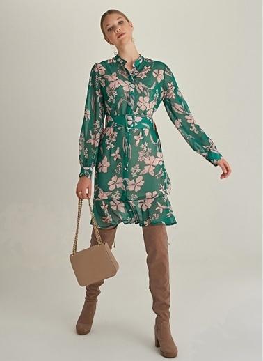 NGSTYLE Çiçek Desenli Şifon Elbise Yeşil